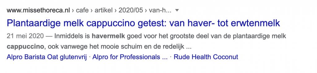 Voorbeeld zoekresultaat in Google